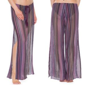 Becca Pier Side Purple Striped Swim Cover Up Pants